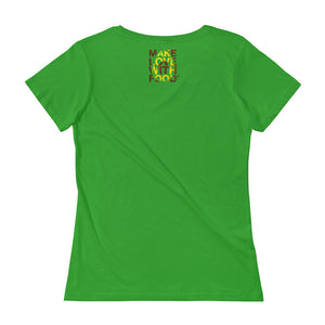 Avocado Women's Scoopneck Cotton T Shirt Green Apple Back