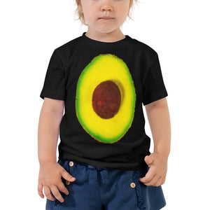 Avocado Toddler Cotton Short Sleeve T Shirt Black Front