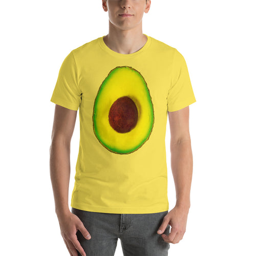 Avocado Men's Cotton Short Sleeve T Shirt Yellow Front