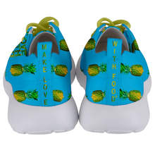 Load image into Gallery viewer, Men's blue pineapple shoes back