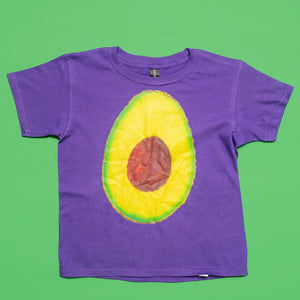 Avocado Youth Cotton Short Sleeve T Shirt Purple Front