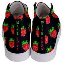 Load image into Gallery viewer, Black Strawberry Kids Hi-top shoe back