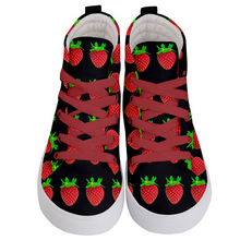 Load image into Gallery viewer, Black Strawberry Kids Hi-top shoe top