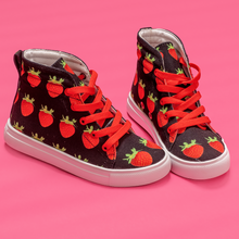 Load image into Gallery viewer, Black Strawberry Kids Hi-top shoe sidea