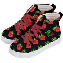 Load image into Gallery viewer, Black Strawberry Kids Hi-top shoe side 2