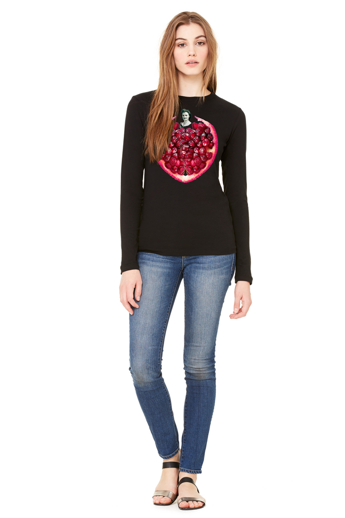 Pomegranate Heart Women's Long Sleeve Tee by Burkart Organics - Make Love With Food  - 2