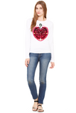 Pomegranate Heart Women's Long Sleeve Tee by Burkart Organics - Make Love With Food  - 1