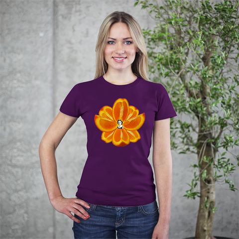 Navel Orange Lotus Heart Women's Tee by Burkart Organics - Make Love With Food  - 1