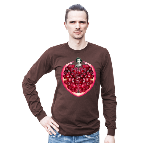 Pomegranate Heart Men's Long Sleeve Tee by Burkart Organics - Make Love With Food  - 1
