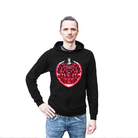 Pomegranate Heart Men's Hoodie by Burkart Organics - Make Love With Food  - 1