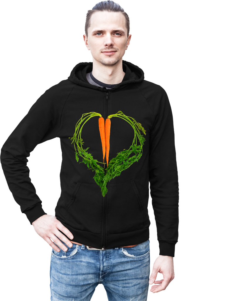 Carrot Heart Men's Hoodie by JF Organic Farms - Make Love With Food  - 1