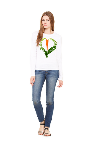 Carrot Heart Long Sleeve Women's Tee by JF Organic Farms - Make Love With Food  - 1