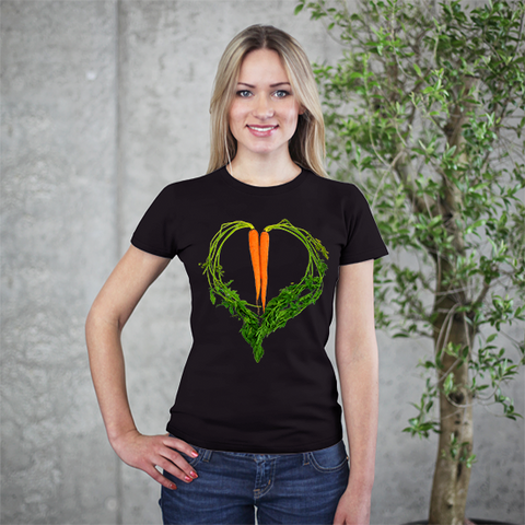 Carrot Heart Women's Tee by JF Organic Farms - Make Love With Food