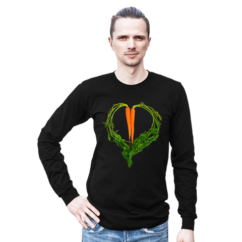 Carrot Heart Long Sleeve Men's Tee by JF Organic Farms - Make Love With Food  - 1