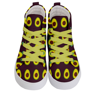 Maroon Avocado Kids Hi-top shoe front