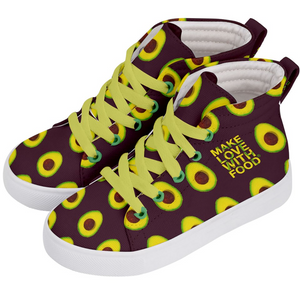 Maroon Avocado Kids Hi-top shoe side 2