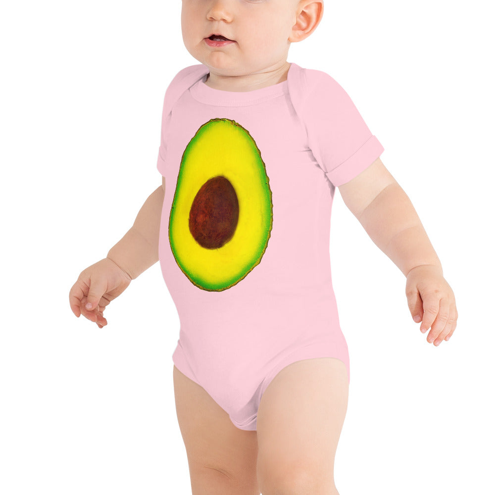 Avocado Baby Short Sleeve Cotton Onesie Pink Front
