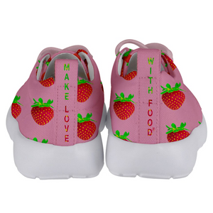 Pink Strawberry Kids Lightweight Sports Shoes Back