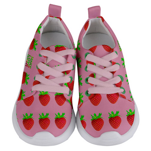 Pink Strawberry Kids Lightweight Sports Shoes Front