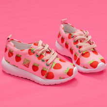 Load image into Gallery viewer, Pink Strawberry Kids Lightweight Sports Shoes Side