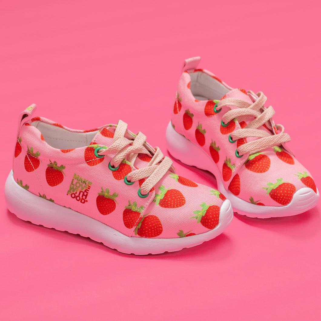 Pink Strawberry Kids Lightweight Sports Shoes Side