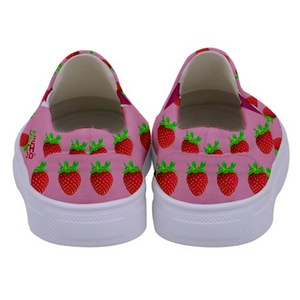 Pink Strawberry Kids Slip-On shoe back