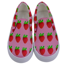 Load image into Gallery viewer, Pink Strawberry Kids Slip-On shoe top