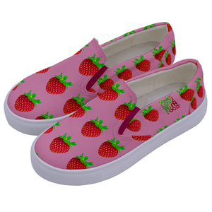 Pink Strawberry Kids Slip-On shoe side