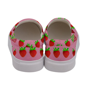 Pink Strawberry Women's Slip-On Shoe Back