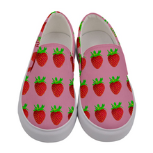 Load image into Gallery viewer, Pink Strawberry Women's Slip-On Shoe Front