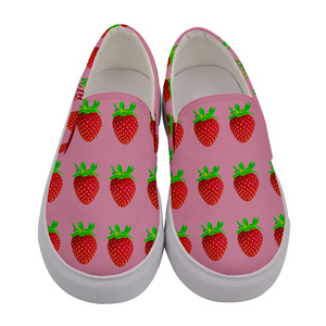Pink Strawberry Women's Slip-On Shoe Front