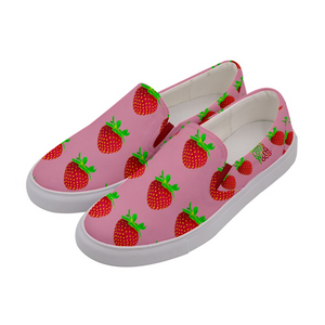 Pink Strawberry Women's Slip-On Shoe Slide