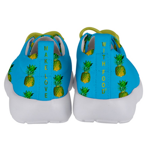 Sky Blue Pineapple Kids Lightweight Sports Shoes Back