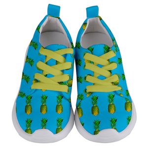 Sky Blue Pineapple Kids Lightweight Sports Shoes Front