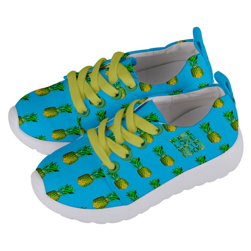 Sky Blue Pineapple Kids Lightweight Sports Shoes Side
