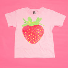 Load image into Gallery viewer, Strawberry Youth Cotton Short Sleeve T Shirt Pink Front
