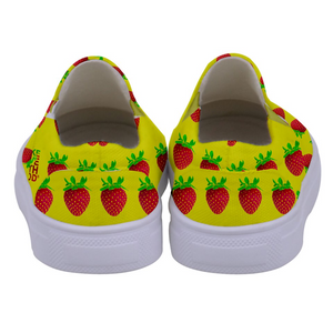 Yellow Strawberry Kids Slip-On shoe back