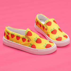 Yellow Strawberry Kids Slip-On shoe side