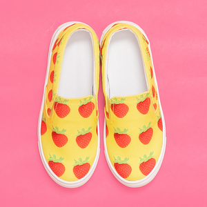 Yellow Strawberry Kids Slip-On shoe front