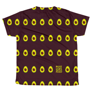 Avocado All Over Youth and Kids Short Sleeve T Shirt Maroonback