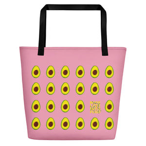 Pink Avocado Women's Large Beach Bag