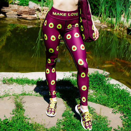 Avocado Women's Yoga Workout Leggings Maroon Front