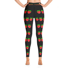 Load image into Gallery viewer, Strawberry Women's Yoga Workout Leggings Black Back