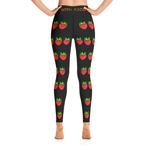 Strawberry Women's Yoga Workout Leggings Black Back