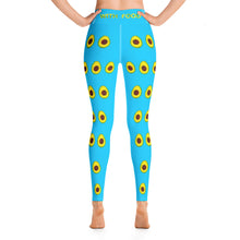 Load image into Gallery viewer, Avocado Women's Yoga Workout Leggings Blue Back