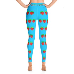 Strawberry Women's Yoga Workout Leggings Blue Back