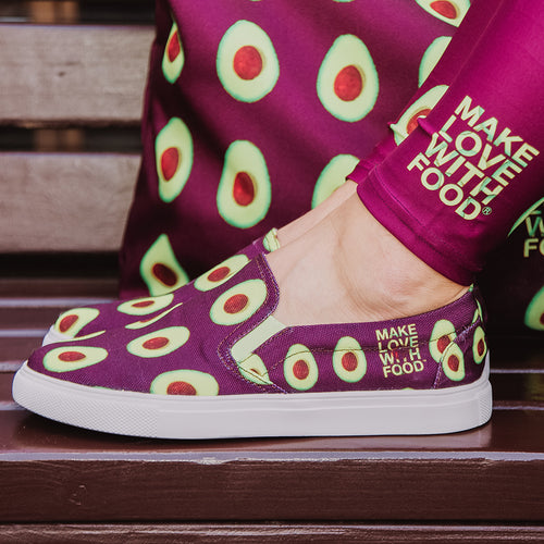 maroon avocado slip on women's shoes by make love with food