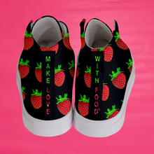Load image into Gallery viewer, Women's black strawberry shoes back