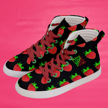 Load image into Gallery viewer, Women's black strawberry shoes left