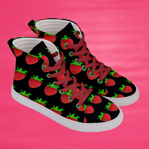 Women's black strawberry shoes right